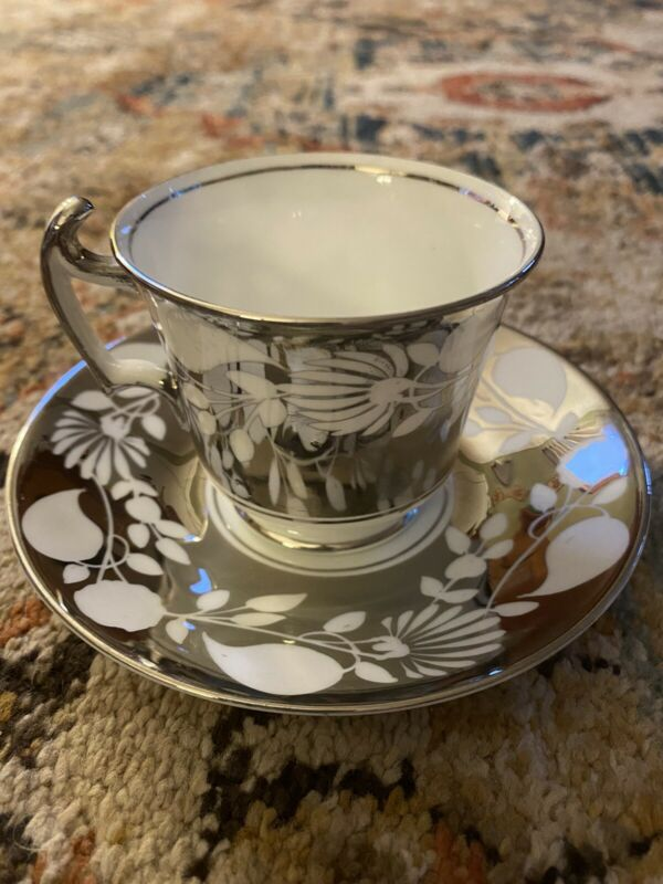 VINTAGE ROYAL CHELSEA DEMITASSE CUP AND SAUCER SILVER WHITE CLOVER PATTERN