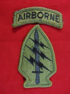 U.S. Army Green Beret Special Forces Subdued OD Green Patch With Airborne Tab
