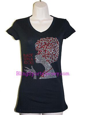 Black Girls Rock Afro Rhinestone Bling V-neck T-shirt (Girls Rhinestone Tee)
