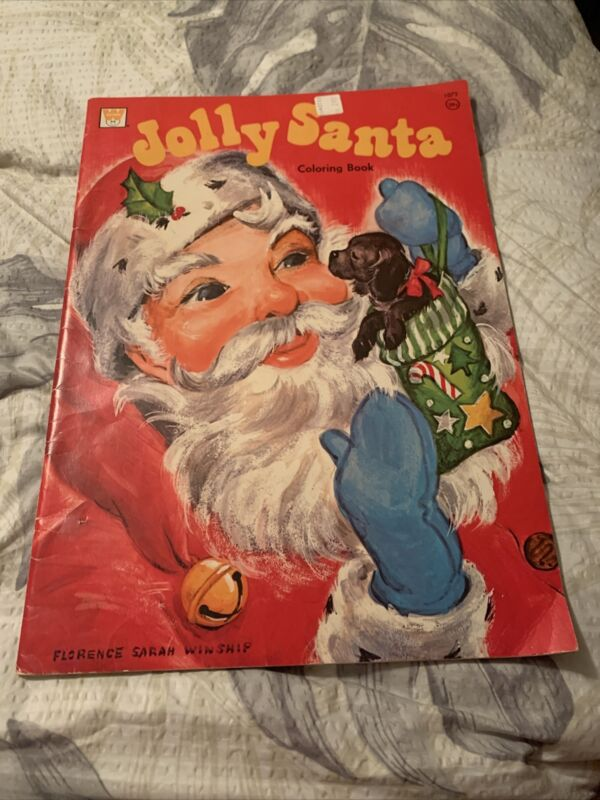 Vintage Jolly Santa Claus Giant Coloring Book ~ Whitman Books ~ Lot Of 3 Books