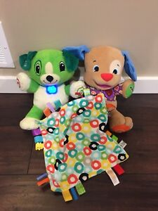 Baby toy puppy lot with taggies play blanket