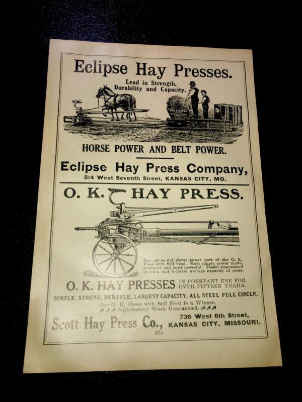 1908 Eclipse & O.K. Hay Press Farm Advertising - Kansas City - Missouri