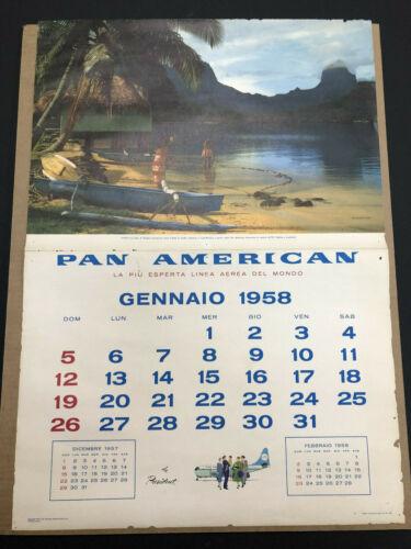 Vintage 1958 Tahiti Pan Am Airlines Calendar Page
