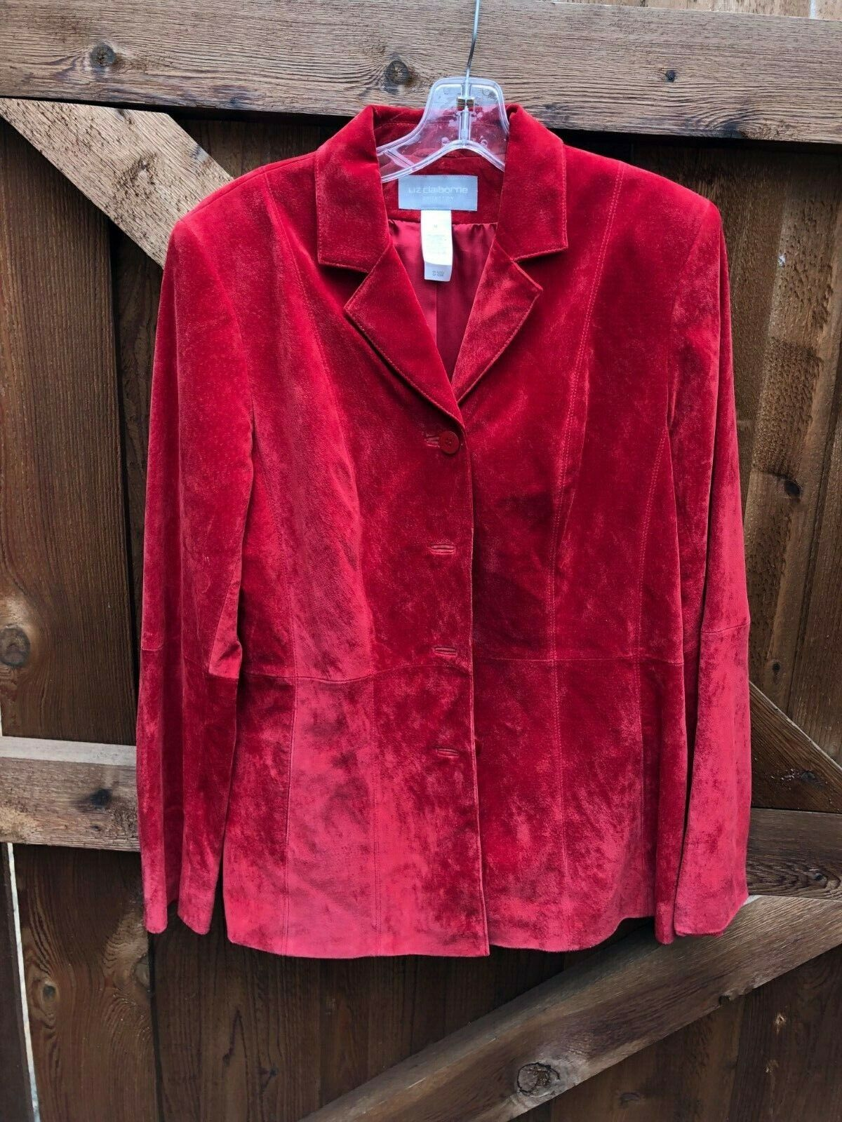 new suede leather jacket bright red size