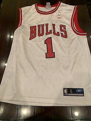 JAMAL CRAWFORD #1 Chicago Bulls VINTAGE REEBOK NBA BASKETBALL JERSEY Sz L Rare