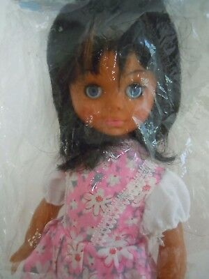 RARE 1970'S BIG EYES AFRICAN AMERICAN / BLACK DOLL,MOD DOLL,PRIZE GIVEAWAY DOLL
