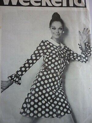 UNCUT VINTAGE 1960'S WEEKEND SPOTTED DRESS SEWING PATTERN