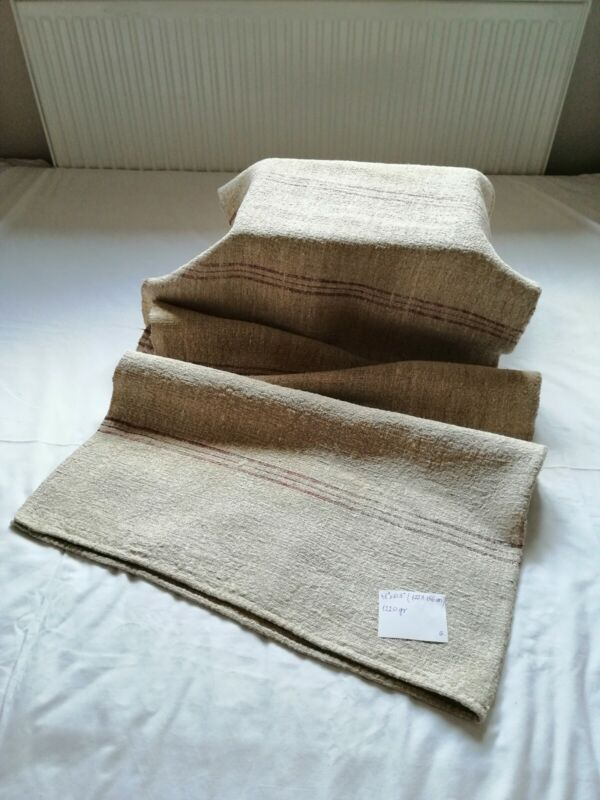 Antique Pure Hemp Bed Sheet Striped Rustic Handwoven Heavy Thick Bed Linen