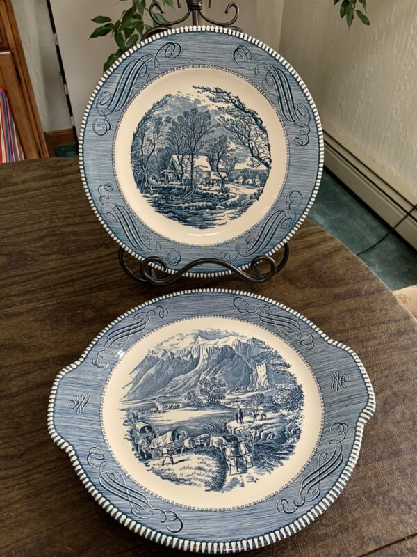 """Currier & Ives Royal China """"The Rocky Mountains"""" & """"The Grist Mill"""" Plates"""