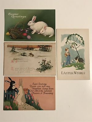 Lot of 4 vintage Holiday Happy Easter Postcards rabbit bunnies chicks eggs