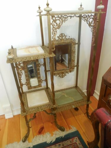 ANTIQUE VICTORIAN BRASS AND MARBLE/ONYX DISPLAY STAND w/ MIRRORS