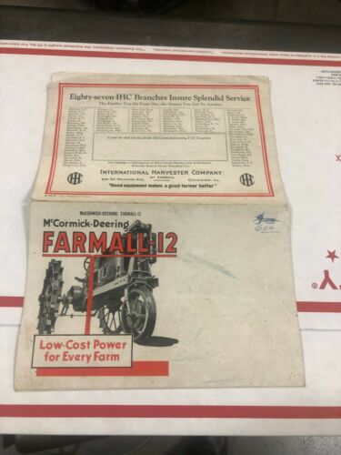 OLD VINTAGE McCormick Deering FARMAL 12 Tractor color folding sales catalog RW