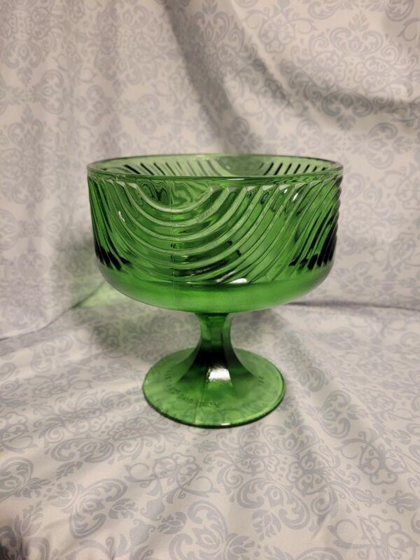 Vintage E.O Brody Cleveland Ohio USA Candy Bowl Pedestal Dish  Green Glass