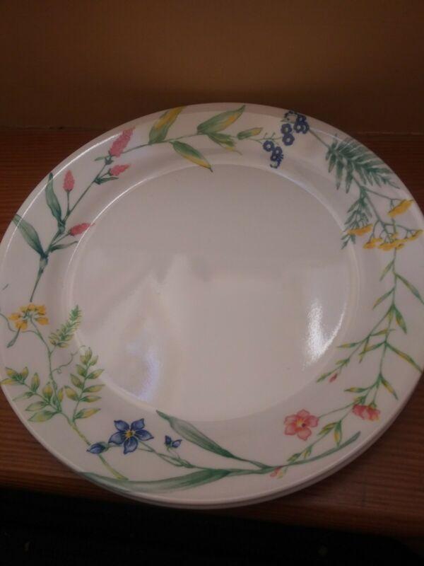 "4 vintage CORELLE ~ MY GARDEN~ Dinner plates 10.25"" diameter floral~USA"
