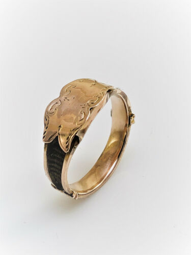 Antique Victorian 9k Yellow Gold Memorial Hair Ring
