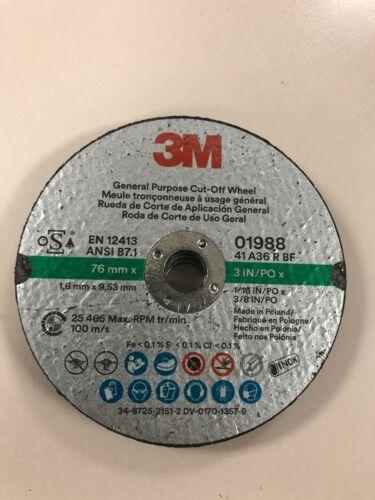 "3M 01988 Green Corps Cut-Off Wheels 3""x 1/16""x 3/8"" inch 5 Pack 1988"