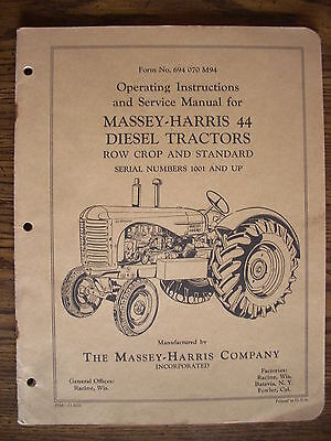 Massey Harris 44 Diesel Owners Manual