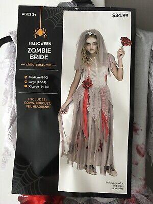 Halloween Zombie Bride Veil (Halloween Zombie Bride Girls Medium 8-10 Gown Bouquet Veil)