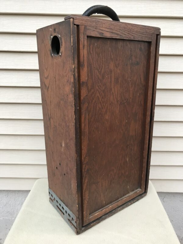 "Antique Fisher Scientific Co 22.5"" Wooden Box Crate Cabinet w/ 2 Sliding Doors"