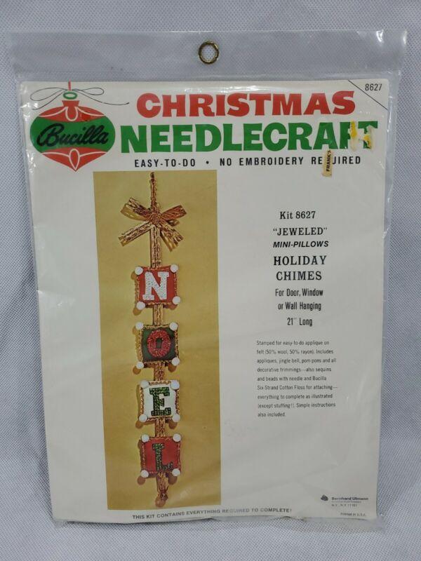 Bucilla Christmas Needlecraft Jeweled Mini-Pillows Holiday Chimes NOEL Felt Appl