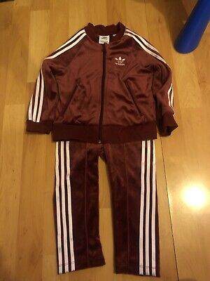 Adidas Burgundy Velour Baby Tracksuit 18-24months