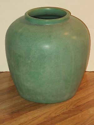 Large Antique Teco Pottery Matte Green Vase With Double Stamp Mark