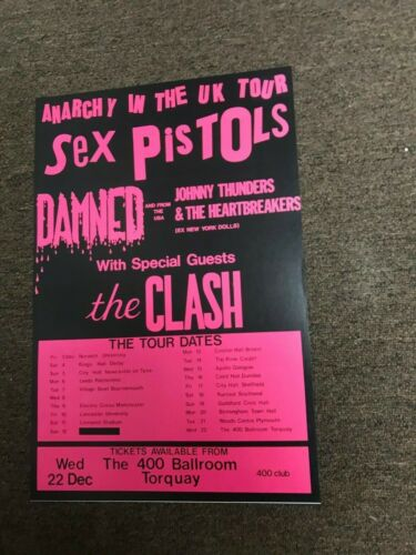 "Sex Pistols Clash Anarchy in the UK 1976 Tour Cardstock Concert Poster 12""x18"""
