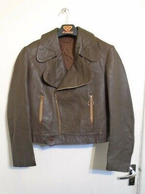 VINTAGE 50'S GERMAN DISTRESSED LEATHER CYCLIST JACKET SIZE S LOOK AT THAT COLLAR