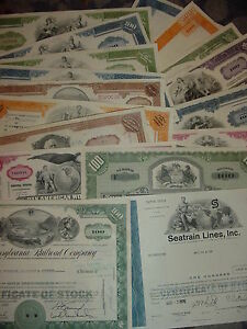 Lot-of-14-Different-Stock-Certificates-Pennsylvania-Railroad-Pan-Am-Erie