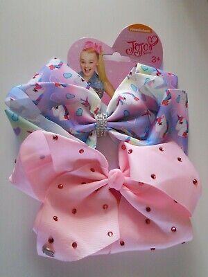 JoJo Siwa 2 Pack Hair Bows EXTRA LARGE Printed Girls Jo Jo Clip on unicorn UK