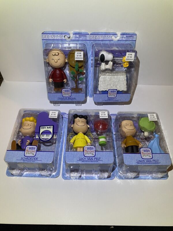 A Charlie Brown Christmas Poseable Holiday Figures Complete Set Of 5 SEALED!