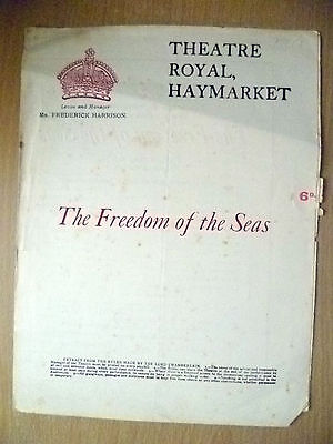Theatre Royal Programme- THE FREEDOM OF THE SEAS by Walter Hackett
