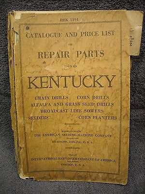 1919 Kentucky Manual Grain Drill Corn Planter Grass Lime International Harvester