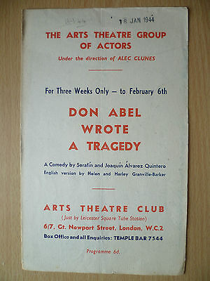 Arts Theatre Club Programme 1944- DON ABEL WROTE A TRAGEDY