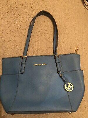 Michael Kors Blue Jet Set Saffiano Leather  Bag