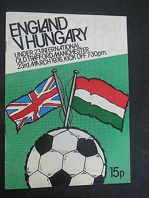 England Under 23's V Hungary 1976 Old Trafford