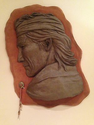 VINTAGE Native American Carved Art Piece REAL SKIN!