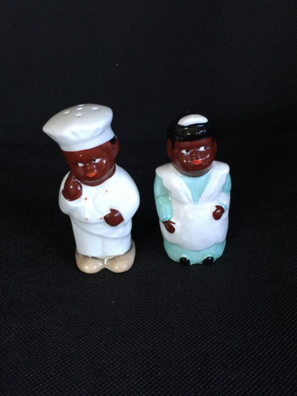 Antique Chef & Maid African American S & Pepper Shakers Made And Stamped Japan