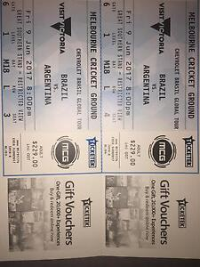 2 x Platinum tickets Brazil Argentina MCG Hornsby Hornsby Area Preview