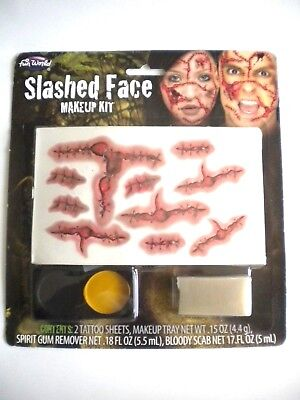 Slashed Face Look Real Scars Makeup Kit Holloween Costume Scary /