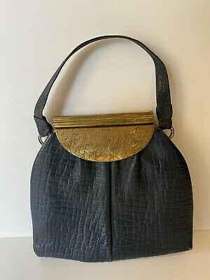 1920s Style Purses, Flapper Bags, Handbags Antique 1920's Leather Black Gold Gilt Handbag Purse Art Nouveau Hide Deco VTG $108.59 AT vintagedancer.com