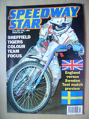SPEEDWAY STAR, 10 July 1993- Sheffield Tigers Colour Team Focus:ENGLAND v SWEDEN