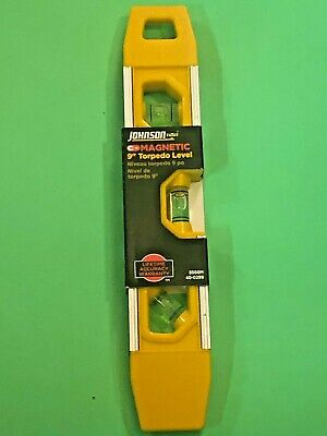 Johnson Magnetic 9 Torpedo Level Lifetime Accuracy Warranty Aluminum Frame
