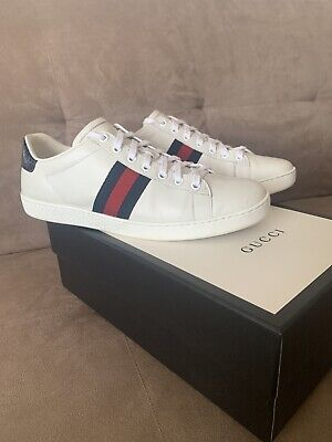 Gucci Ace Low Designer Sneakers Trainers Leather Uk 6.5 39.5 Unisex Mens Womens
