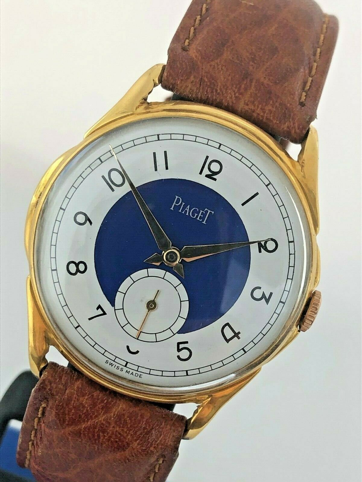 Swiss Vintage Piaget 2 Tone 18k Gold Filled Manual Wind Watch Jumbo 37mm