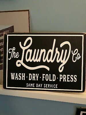 Vintage Retro Black Laundry Company Novelty Gift Wooden Hanging Plaque Sign Wood