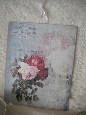 """Shabby Chic / Best / Paris Roses Hanging Plaque 8""""x10"""""""