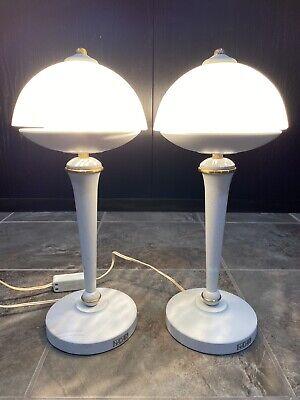 Mid-Century Art Deco Metal Chrome Tabletop Lamp Dome-Shaped Shade Boy Figurine