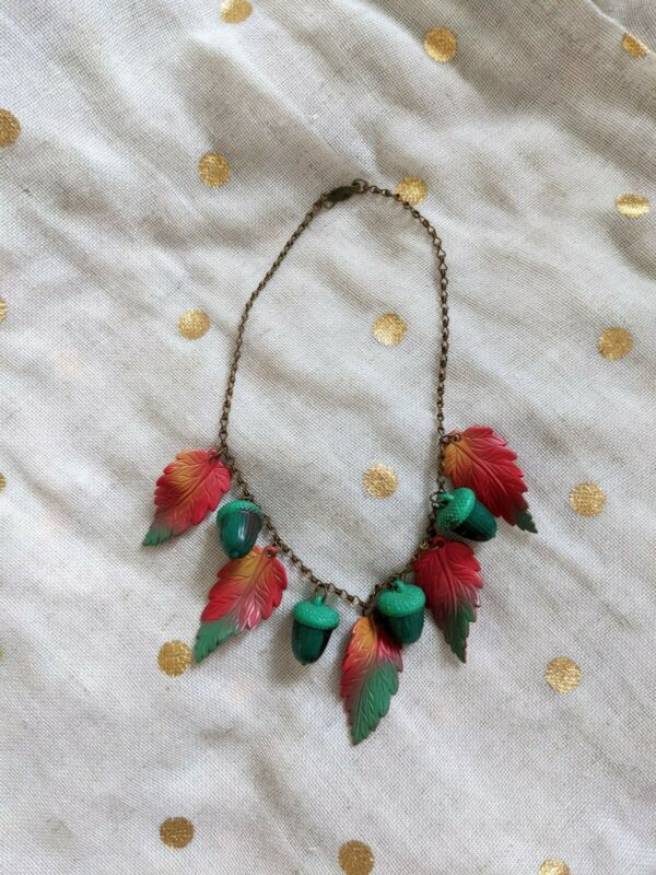 1940s Leaves And Acorns Necklace
