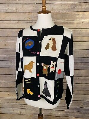 Christinia Rotelli Large NWT Cardigan Sweater Embroidered Dog Print Novelty (Puppy Cardigan)